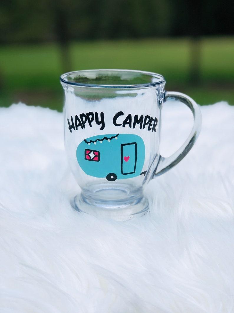 Happy Camper coffee mug/camping coffee mug/Happy Camper glass Aqua (shown)
