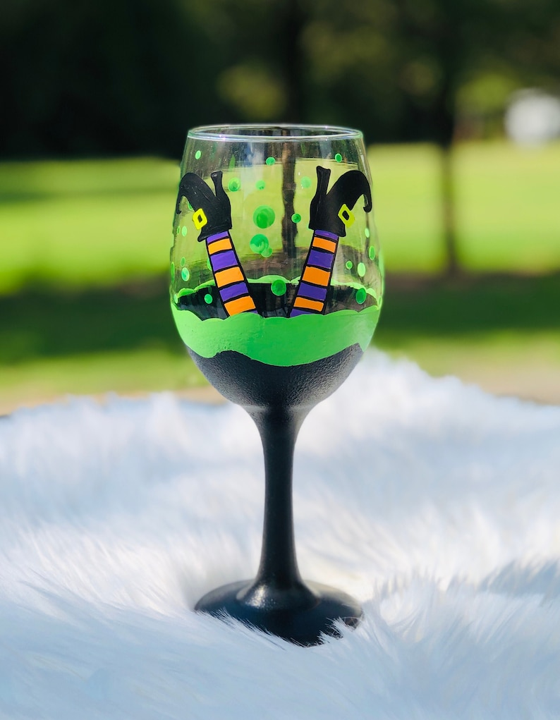 Halloween Witch's Brew hand-painted witch wine Stemmed wine glass