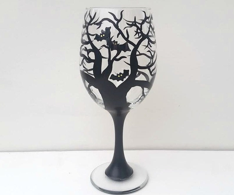 Halloween bat tree hand painted wine glass/Halloween wine image 0