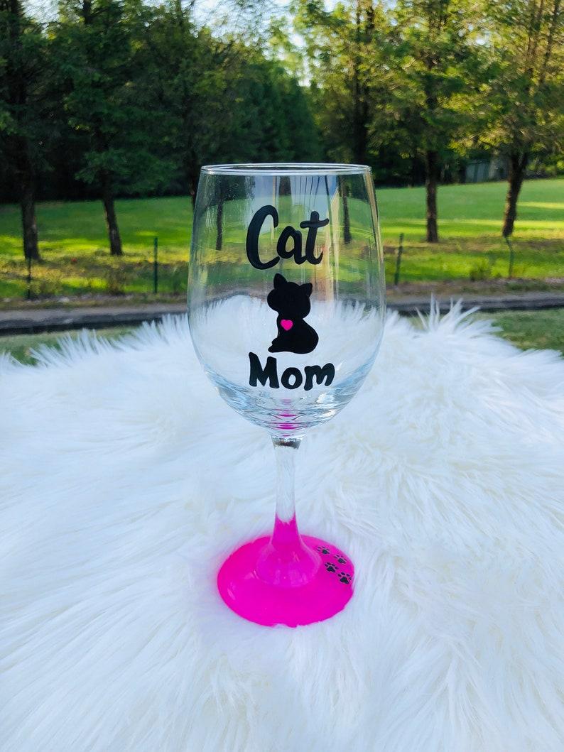 Cat Mom handpainted wine glass Cat Dad wine glass Cat lover image 0