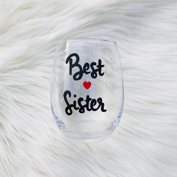 Best Sister handpainted stemless wine glass tumbler/ gifts for sister/  gifts under 15/Sister wine glasses