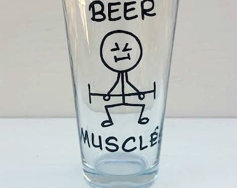 Beer Muscles hand painted pint beer glass funny beer glass funny pint glass funny beer glass sarcastic mugs