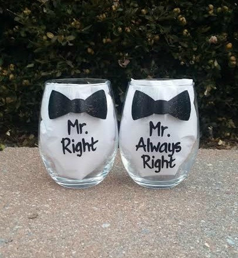 Mr. Right Mr. Always Right  handpainted wine glass set /gay image 0