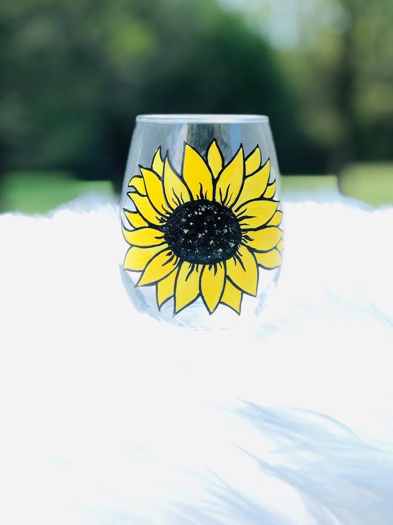 Sunflower stemless wine glass/Fall wine glass/Autumn wine image 0