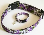 Purple Floral Girl Dog or Cat Collar with Matching Friendship Wrist Bracelet and Charm XXS -XL