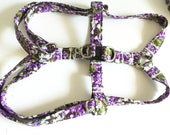 Purple Floral Step In Dog or Cat Harness for Walks Matching Leash Option Matching Flower or Bow tie Option