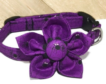 Purple & Black Halloween Spider Collar with Bow Tie or Flower for Dogs and Cats in Buckle or Martingale Style /Leash Upgrade