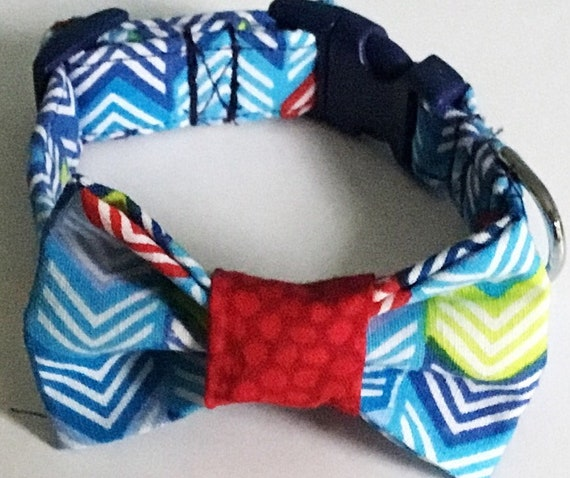 Red and Blue Chevron Collar with Matching Bow tie Set for Male Dogs and Cats