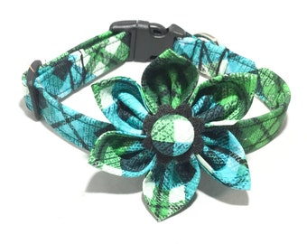 Blue Green & Black Plaid Argyle Collar With Attachable Flower for Girl Dog or Cat / Buckled or Martingale / Metal Buckle Upgrade / XXS-XXL