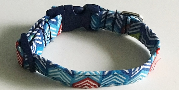 Blue & Red Chevron Male Dog and Cat Collar
