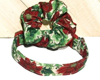 Poinsettia Christmas Dog or Cat Collar & Hair Scrunchie Set  with Red Standard Buckle or Martingale Upgrade