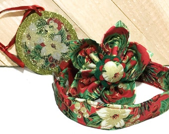 Red & Green Floral Holly Christmas Ornament, Flower and Collar Set for Dogs or Cats  Buckle or Martingale Style/ 3 Piece Christmas Set