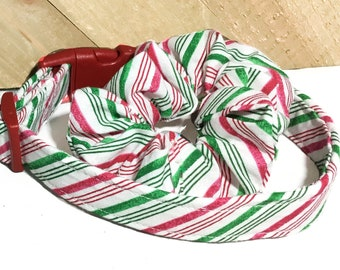 Red Green  Striped Candy Cane Christmas Dog or Cat Collar & Hair Scrunchie Set  with Red Standard Buckle or Martingale Upgrade