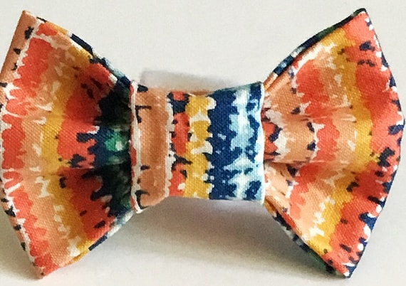 Orange and Blue Striped Summer Bow Tie for Male Dog or Cat Collar
