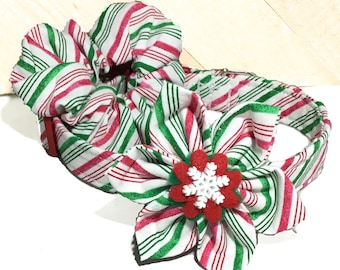 Striped Candy Cane Christmas Collar & Flower or Hair Scrunchie Set for Dogs and Cats with Red Standard Buckle or Martingale Upgrade