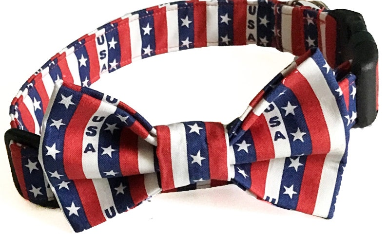 Patriotic Bow Tie Collar with Stars and Stripes for Dogs and image 0