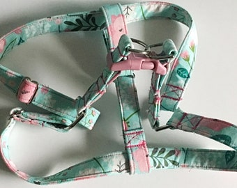 Pink and Aqua Floral Step In Dog Harness