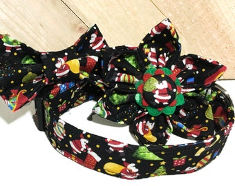 Christmas Santa Claus Dog & Cat  Buckled Collar With  Flower or Bow Tie /Martingale Upgrade  /Leash Upgrade / Metal Buckle Upgrade