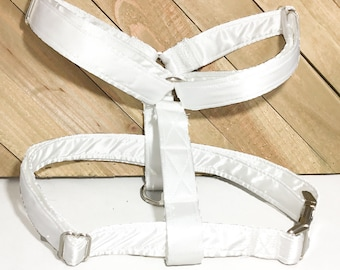 White Satin Wedding Dog  Harness With Silver Metal Buckle / Satin Roman Harness / Leash Upgrade / Matching Flower or Bow tie Option