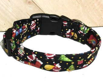 Santa Claus Christmas Dog or Cat Collar With Black Background & Black Standard Buckle / Martingale Upgrade / Leash Upgrade