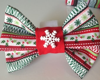 Snowflake Christmas Collar Bow Tie for Dogs and Cats-Red, White, & Green Striped