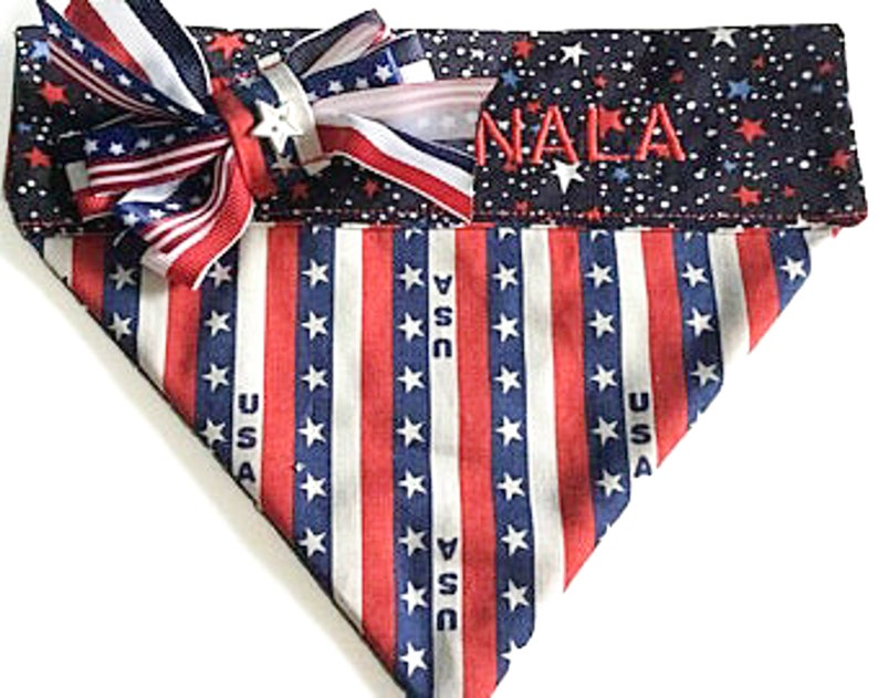 Personalized Stars and Striped Patriotic Over the Collar Dog image 0