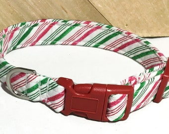 Red Green Striped Candy Cane  Christmas Dog or Cat Collar With Red Buckle  Or Martingale Upgrade