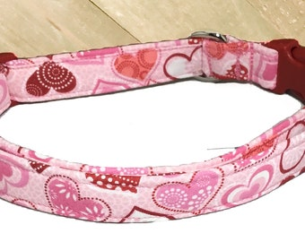 Pink and Red Valentine Heart Collar for Dogs and Cats in Buckle or Martingale Style / Metal Buckle Upgrade / Leash Upgrade