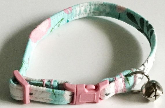 Pink and Turquoise Floral Breakaway Cat Collar with Bell