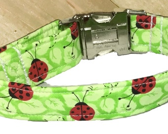 Green Ladybug Collar for Dogs and Cats // Buckled or Martingale // Matching Leash Option // Metal Buckle Upgrade