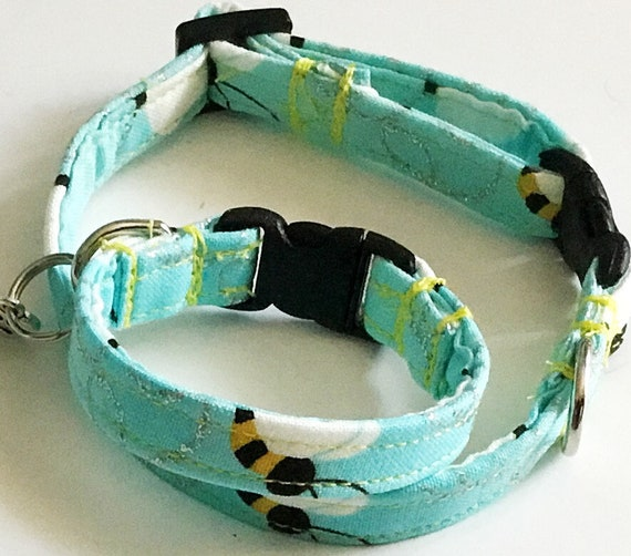Blue Bumble Bee Dog or Cat Collar with Matching Friendship Bracelet and Charm