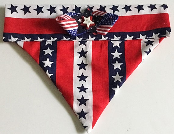 Patriotic Reversible Stars and Stripes Bandana for Dogs and Cats