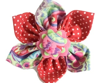 Red, Purple, & Pink  Floral Paisley Flower for Girl Dog or Cat Collar / Attachable Pet Accessory / XXS- XL Flower