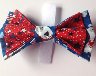 Two Layer Patriotic Dog Collar Bow Tie for Dogs and Cats