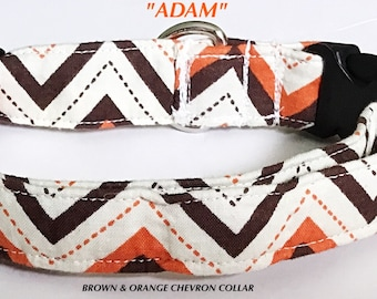 Brown & Orange Chevron Medium Sized Collar for Male Dogs and Cats