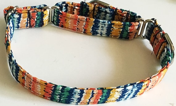 Blue and Orange Striped Summer Martingale Collar with Available Bow tie