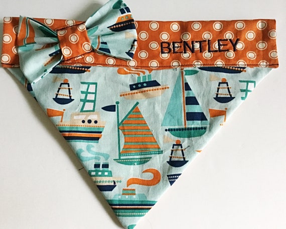 Summer Nautical Bandana for Dogs and Cats With or Without Personalization