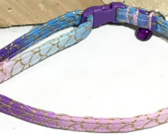 Blue, Pink & Purple Mermaid  Cat Collar with Breakaway Buckle and Bell / Matching Flower, Bow tie and Leash Options /Buckle Color Option
