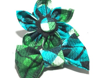 Blue Green & Black Attachable Plaid Argyle Flower or Bow Tie for Dogs and Cats / XXS to XL Pet Accessory