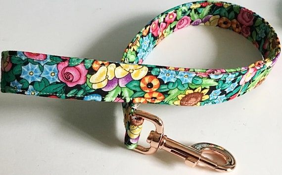 Floral Dog Leash with Rose Gold Snap Hook