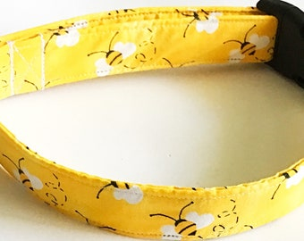 Yellow Bumble Bee Dog Collar/  Leash Upgrade/ Buckled or Martingale/ XXS-XXL