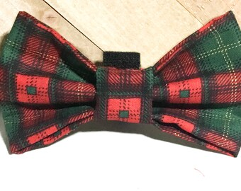 Red, Green & Black Plaid Christmas Plaid Bow tie or Flower for Dog or Cat Collar/ Attachable Christmas Pet Accessory