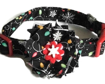 Christmas Lights Collar with Matching Flower for Female Dogs or Cats /Martingale or Buckled / Metal Buckle Upgrade