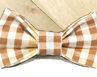 Brown & Gold Fall Checkered Gingham Bow Tie for Dog or Cat Collar / Autumn  Collar Accessory for Pets / XXS- XL Attachable Bow Tie