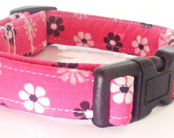 Pink Black and White Floral Collar for Female Dog or Cat / Leash and Metal Buckle Options / Martingale or Buckled