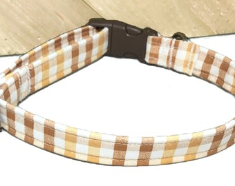 Brown & Gold Fall Gingham Checkered Collar for Dogs or Cats With Brown Buckle/Seasonal Collar and  Martingale Upgrade /Leash Upgrade
