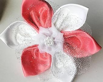 White & Coral Satin Wedding Flower for Girl Dog or Cat Collar