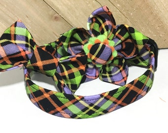 Black Purple Green & Orange Bias Plaid Halloween Bow Tie or Flower Collar for Dogs and Cats in Buckle or Martingale Style /Leash Upgrade