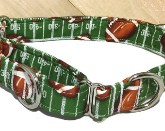 Football Dog  Martingale With Green Background & Brown Footballs Throughout /Football Leash Upgrade/ Matching Flower/Bow tie Upgrade/ XS-XL