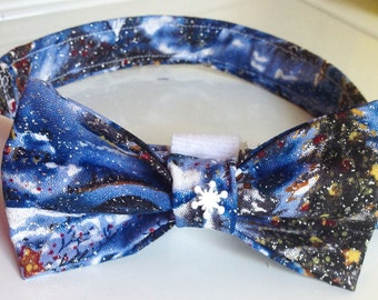 Blue Snowy Night Christmas Bow Tie Collar for Dogs and Cats